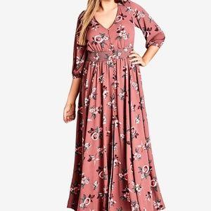 City Chic Button Down Floral Maxi Dress